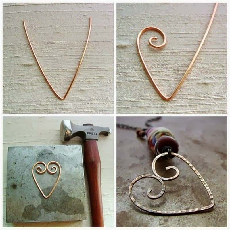 Simple wire bent spiral heart