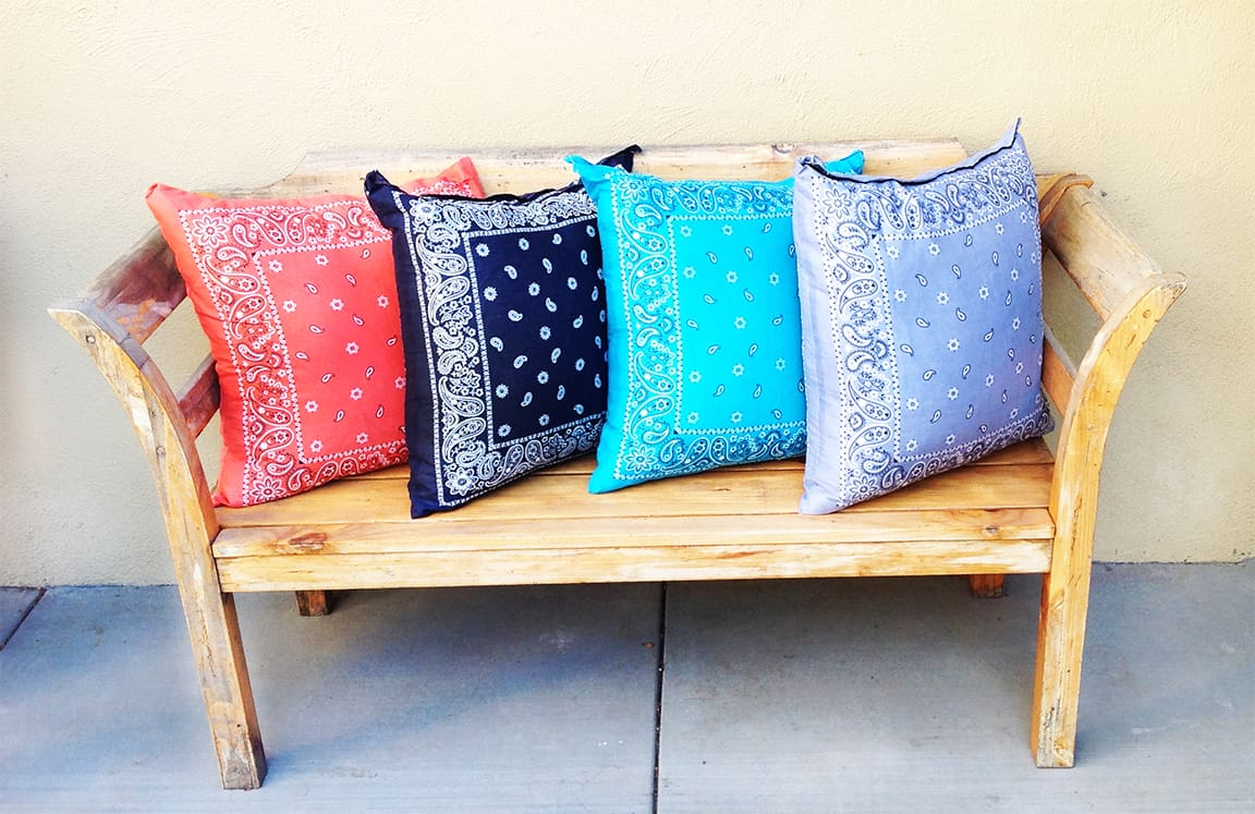 Simply sewn bandana throw pillows