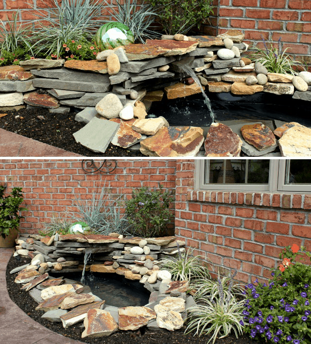 Stone backyard water fountain