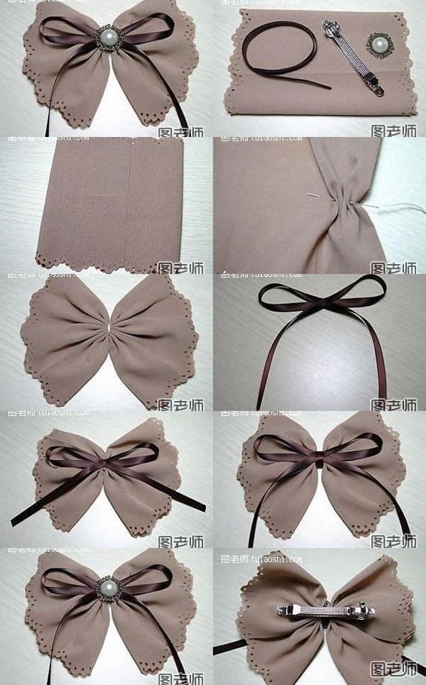 Suede bow, ribbon, and pearl hair barrette
