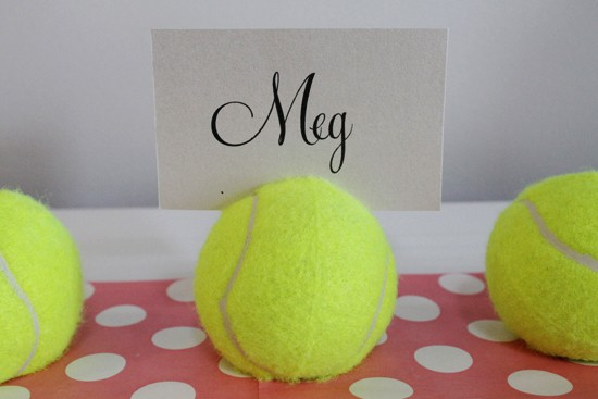 Tennis ball placecard holder