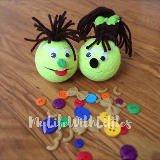 Tennis ball puppets