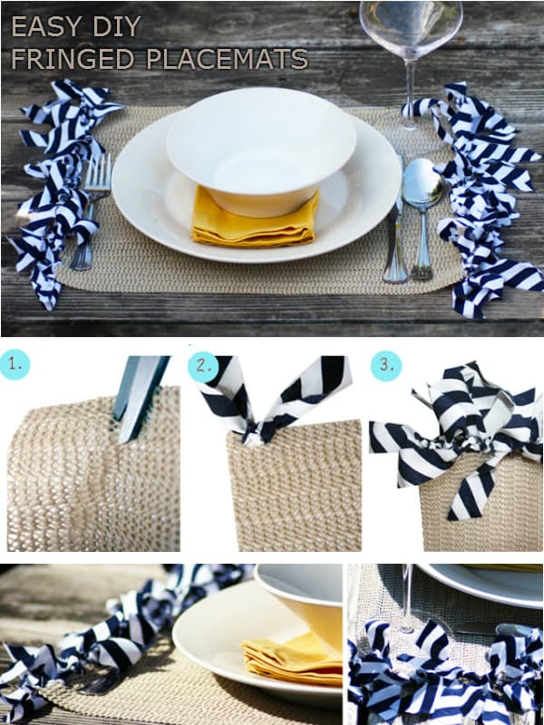 Tied fabric fringe placemats