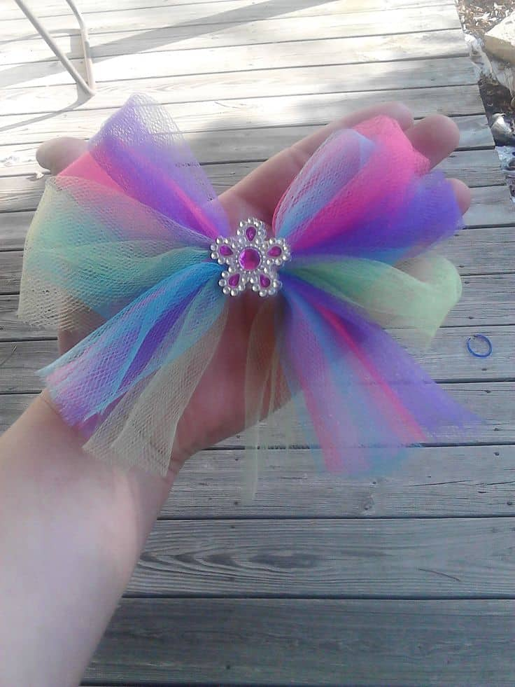 Tulle and gem hair bow