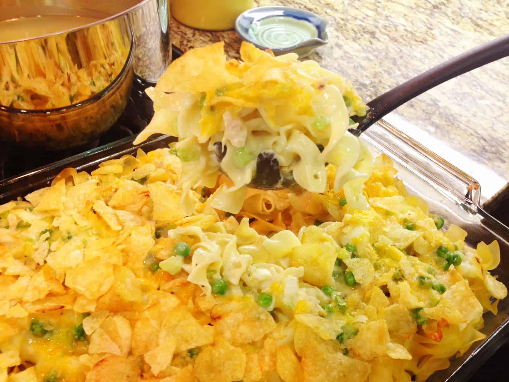 Tuna noodle casserole with potato chip crust