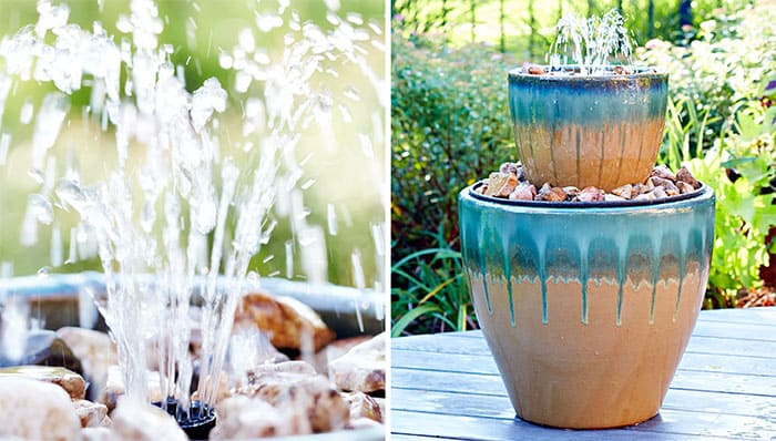 Two-tier patio water fountain
