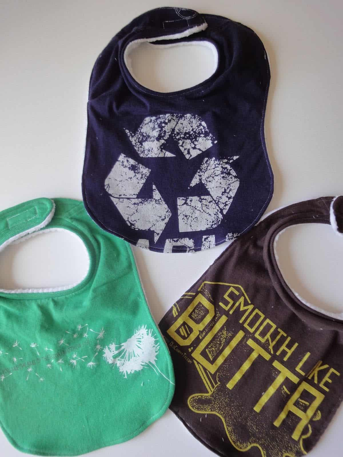 Ucycled t-shirt baby bibs