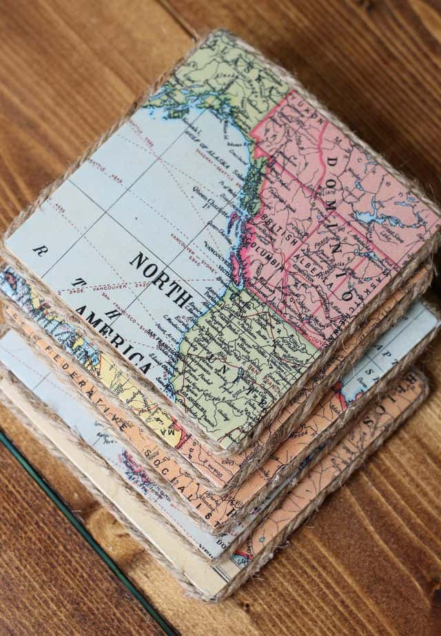 Upcycled map paper coasters