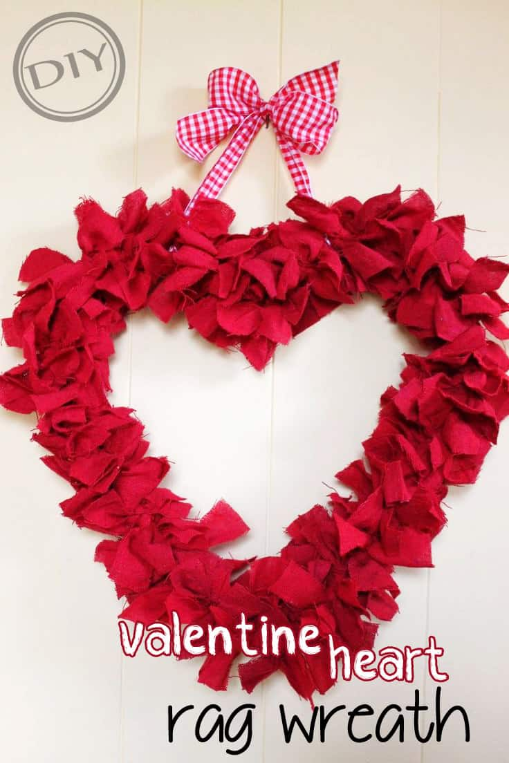 Valentine heart rag wreath