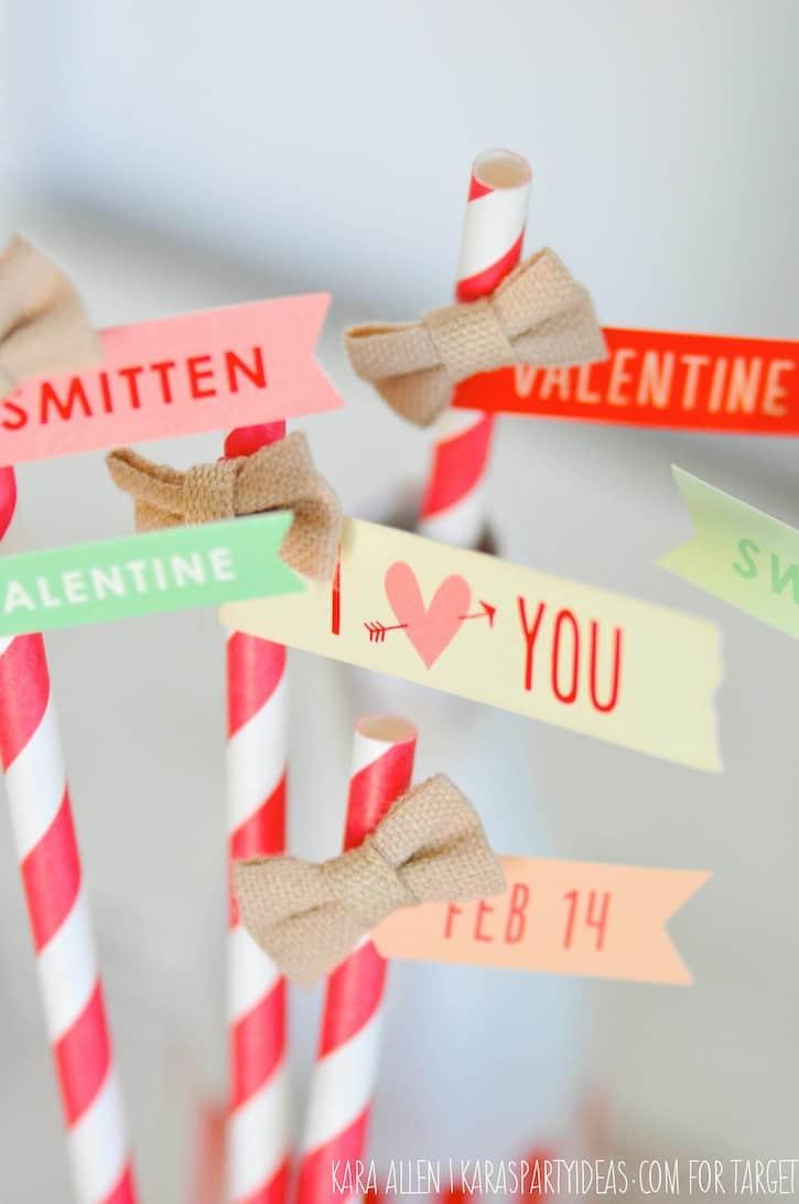 Valentine's Day quote paper straws