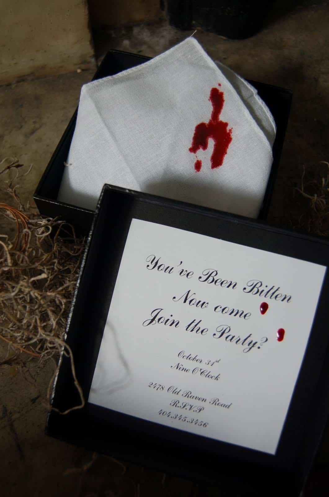 Vampire bite handkerchief party invitation