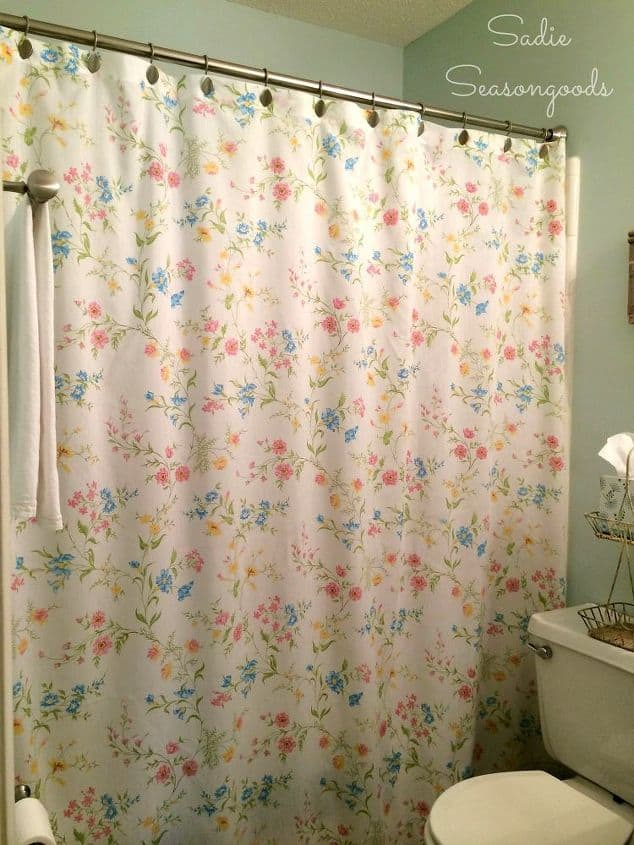 Vintage bed sheet showre curtain