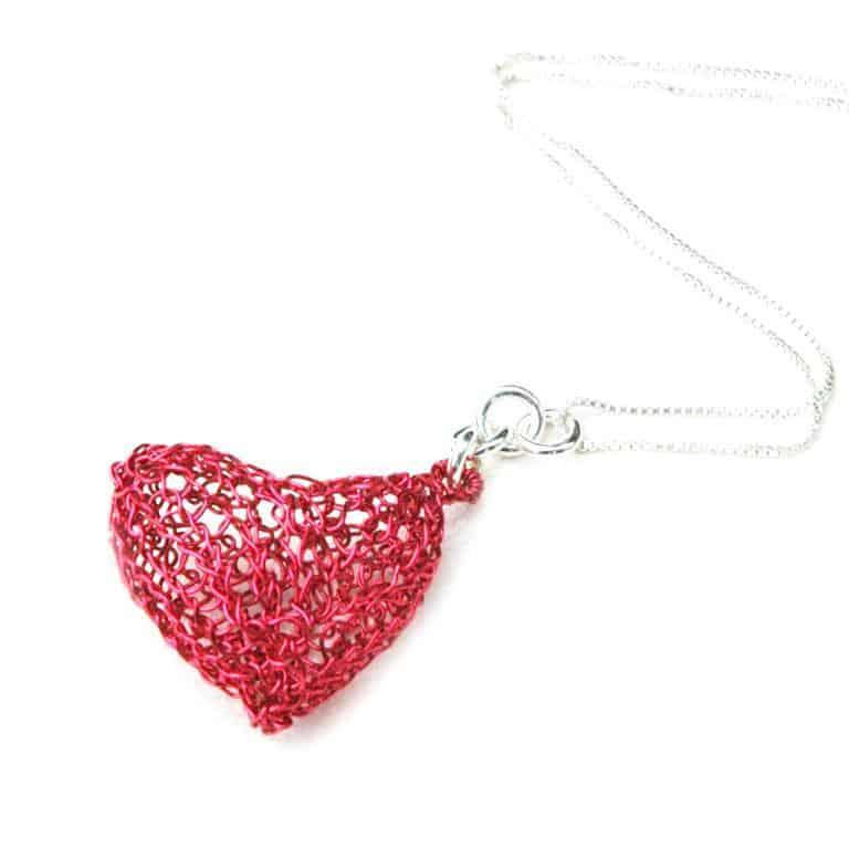 Wire crocheted heart