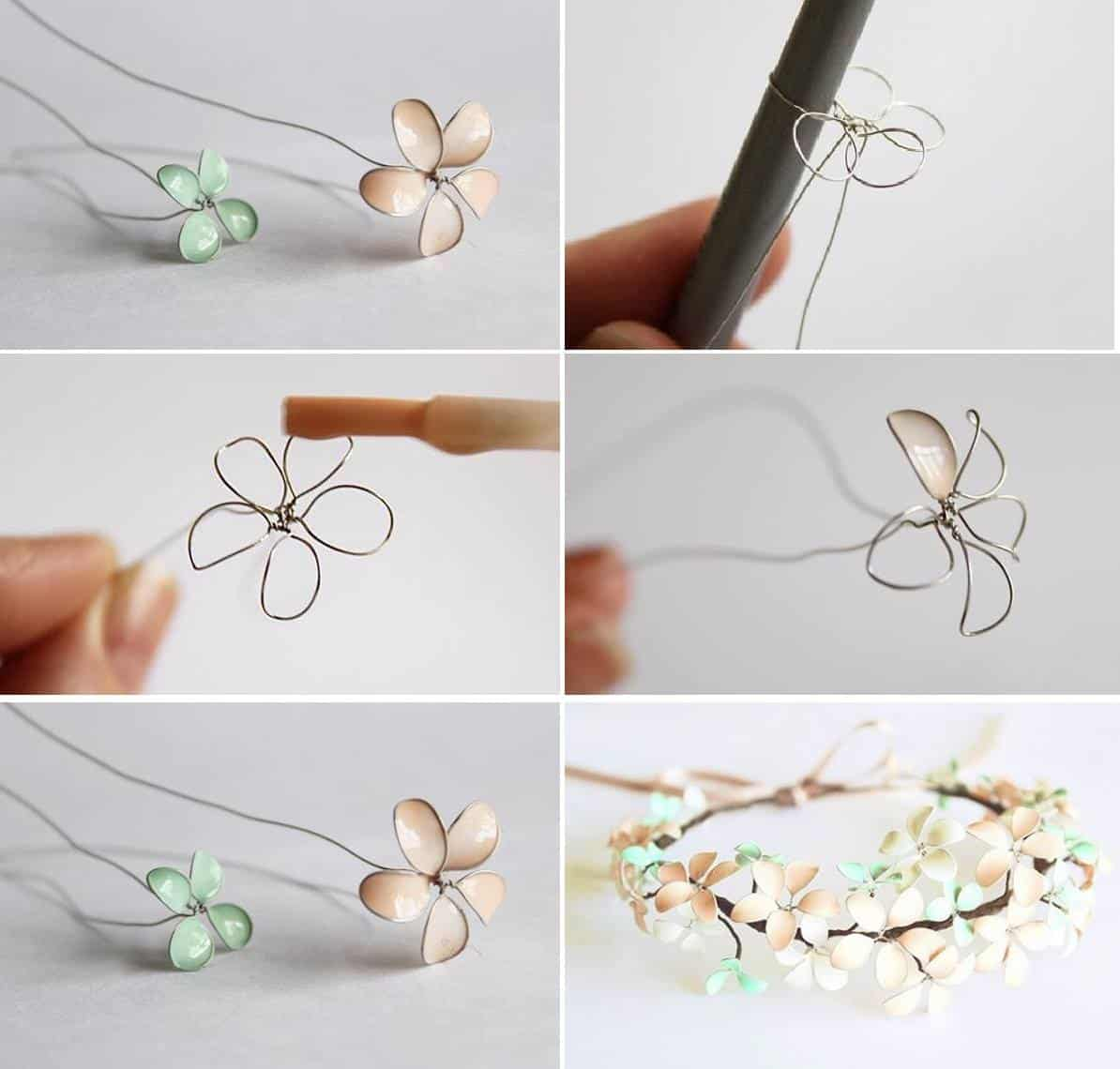 Spring magic unleashed diy floral jewelry ideas of all styles wire wrapped and nail polish dipped floral headband izmirmasajfo