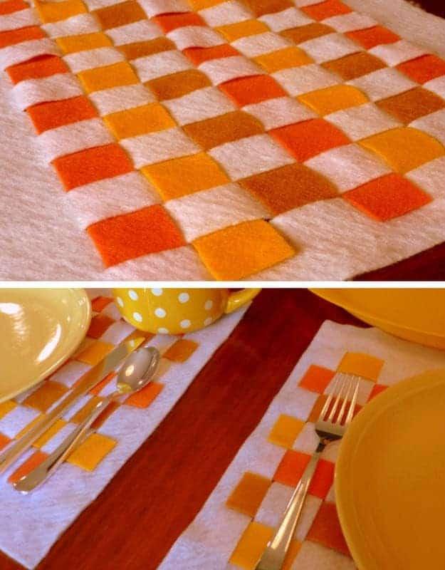 Woven felt strips placemat
