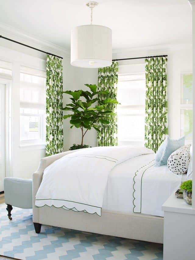Bright green feature curtains