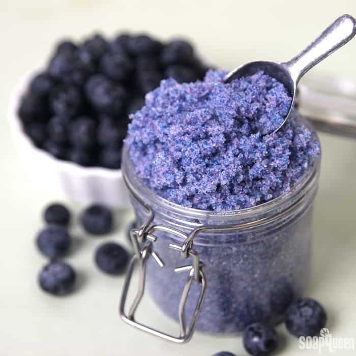 Coconut oil and blueberries face scrub