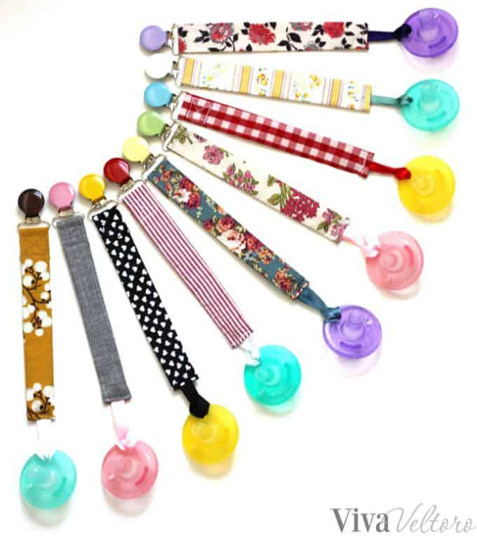Fabric pacifier clips