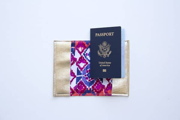 Gold leather passport holder