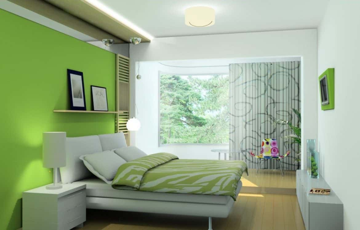 Happy lime green walls with matching bedding