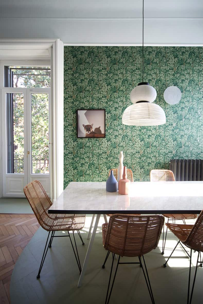 Leafy green wall papered statement wall