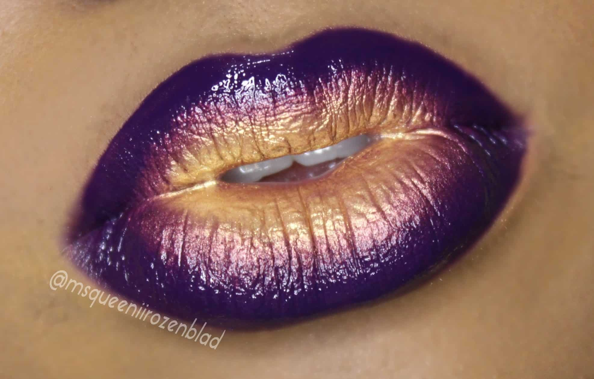 Purple and gold ombre lips