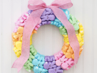 Rainbow bunny wreath 200x150 Spring Festivities: 13 DIY Easter Decorations