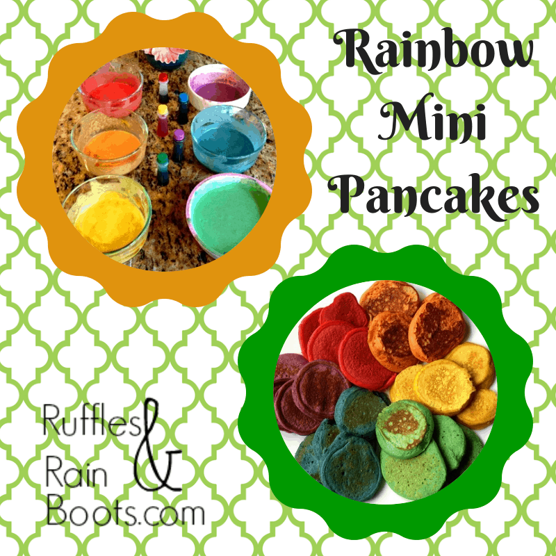 Rainbow mini pancakes
