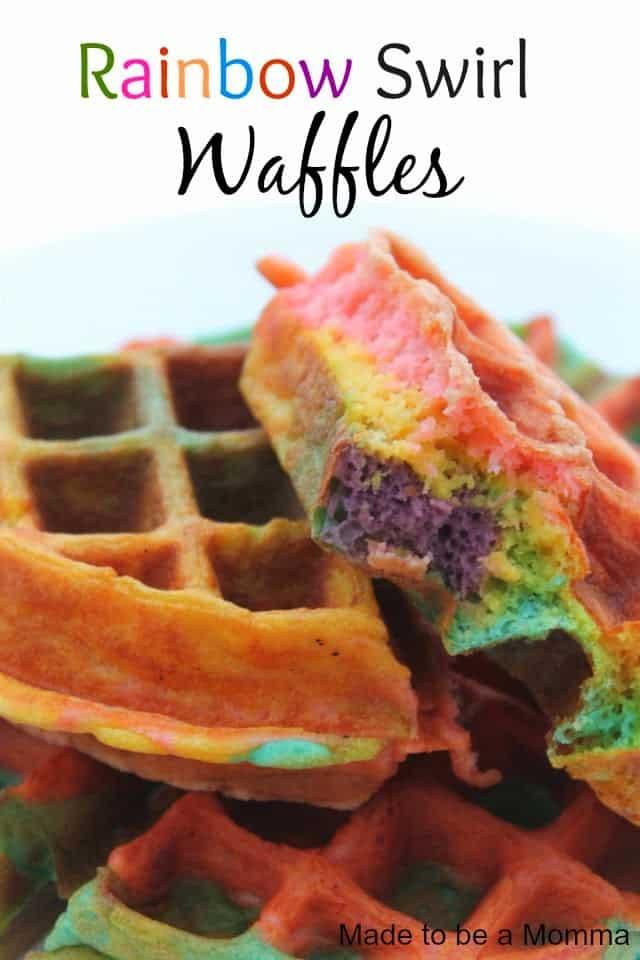 Rainbow swirl waffles