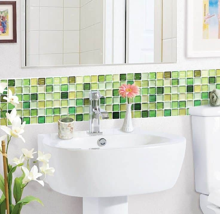 Varied green glass tiles