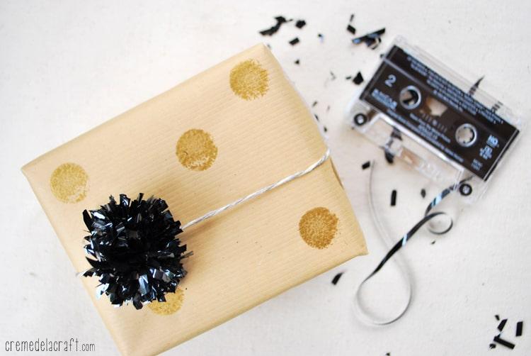 Cassette tape pom poms