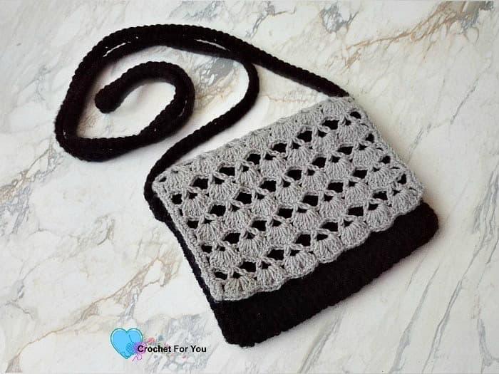 Crochet cross-body bag