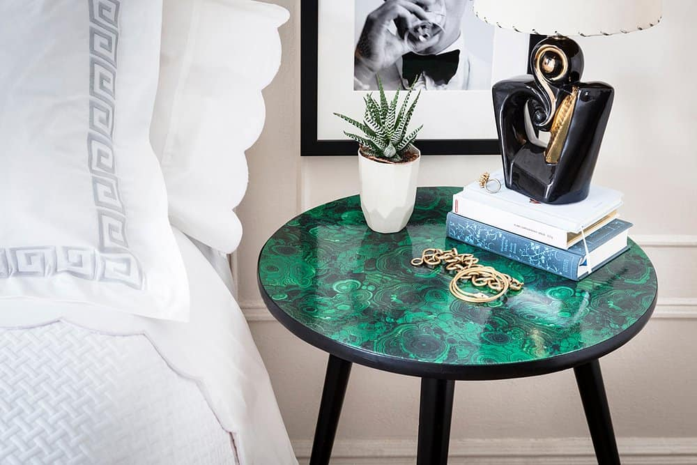 Decoupage malachite table