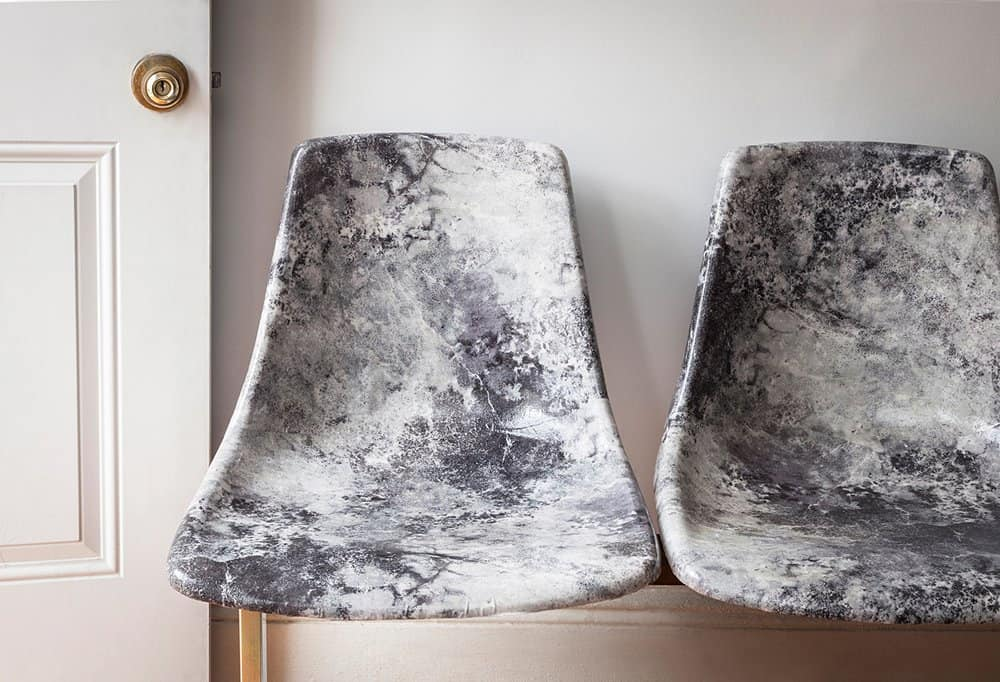 Decoupage marble chairs