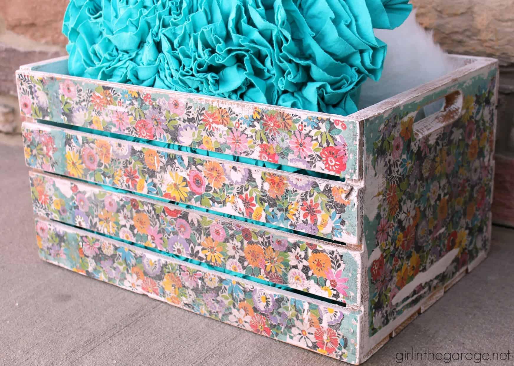 Decoupage napkin crate