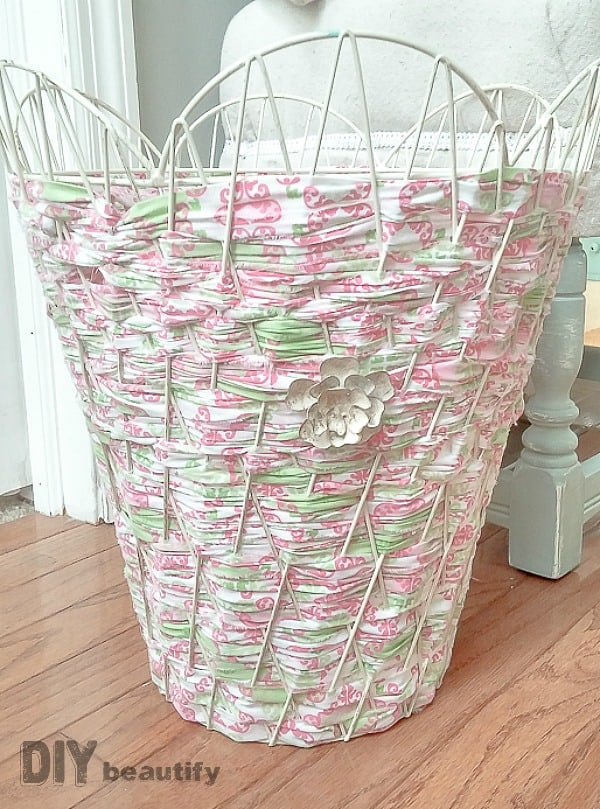 Fabric woven trash can