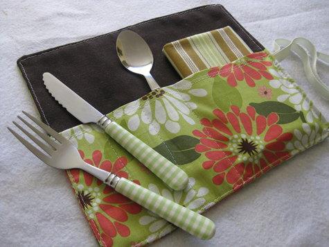 Floral cutlery holder
