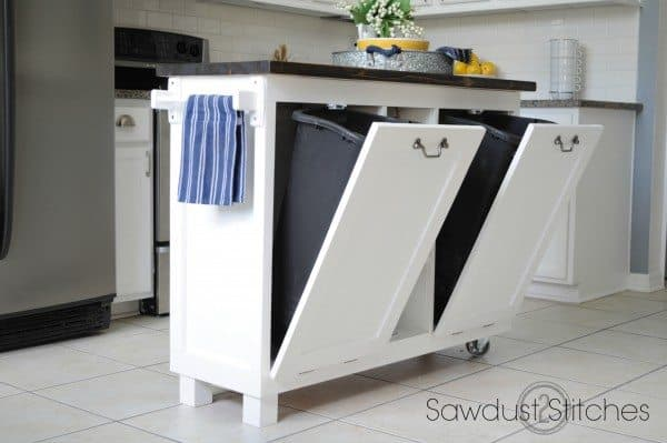 Kitchen island trash cabinet