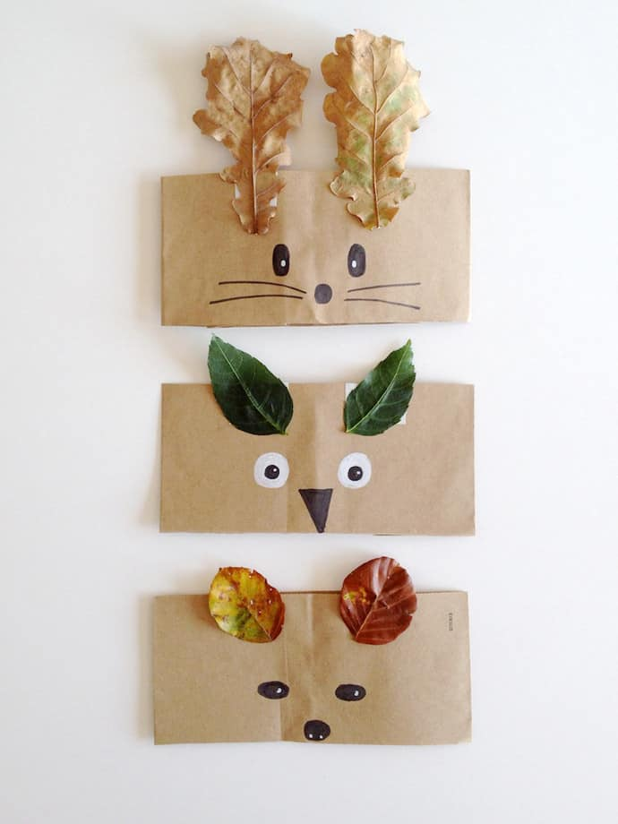 Paper bag animal crowns