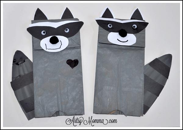 Paper bag raccoon