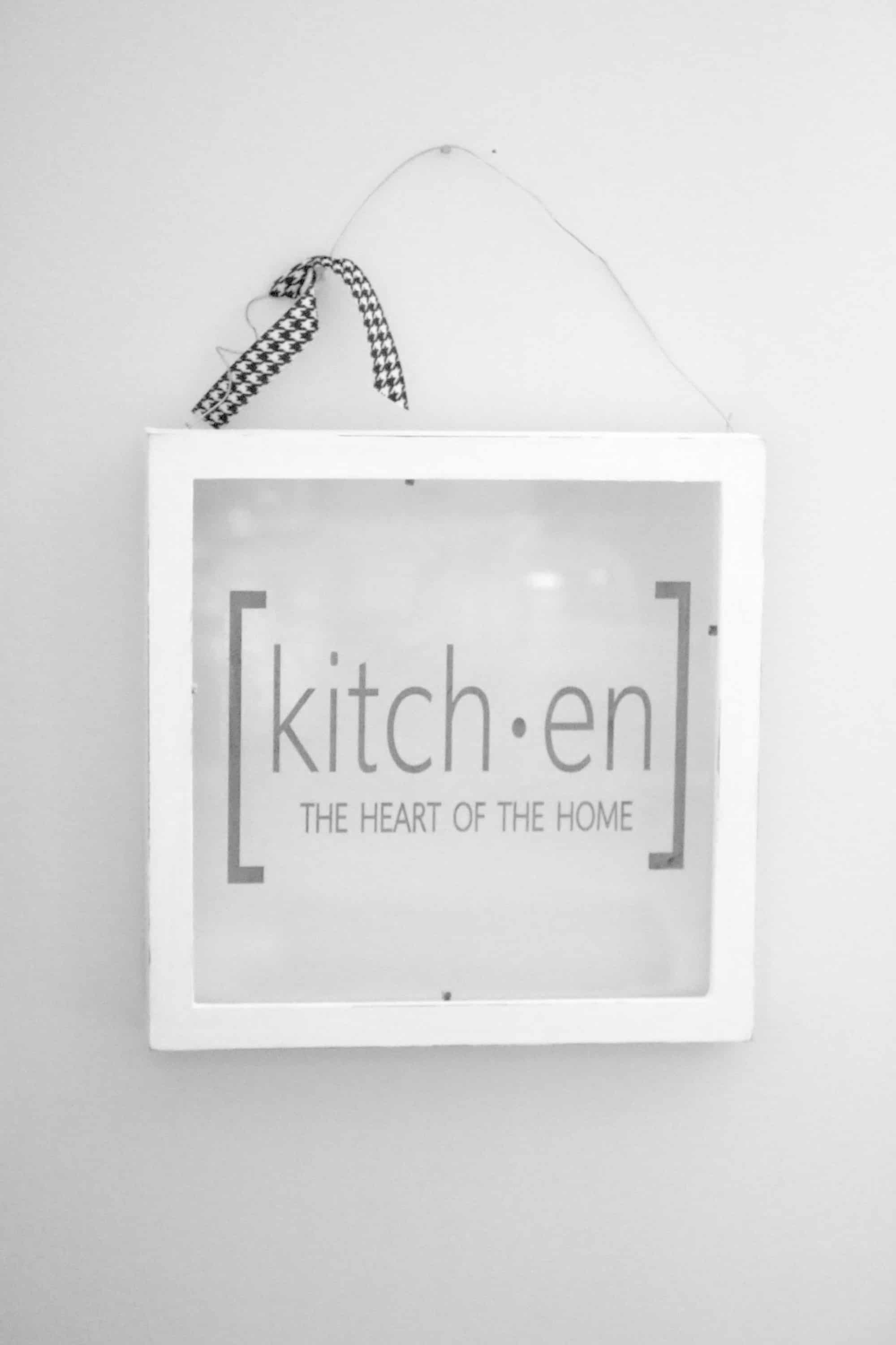 Picture frame kitchen sign