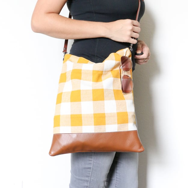Plaid cross-body bag