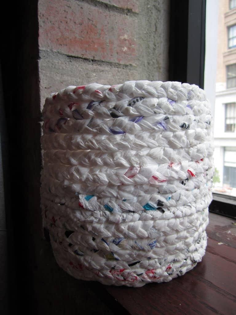 Plastic bag trash can