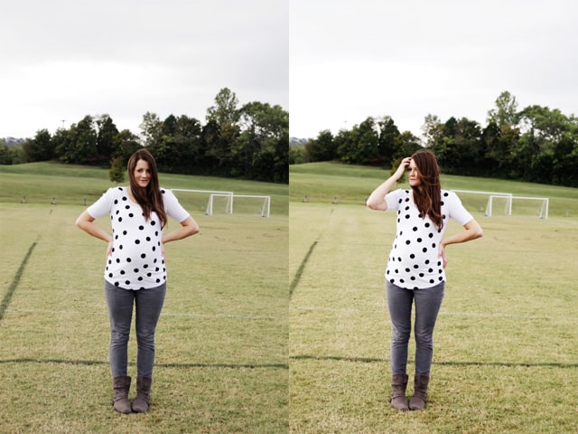 Polka dot maternity top