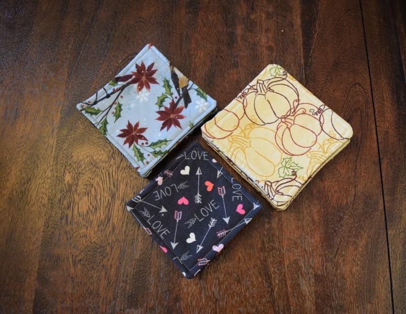 Reversible fabric coasters