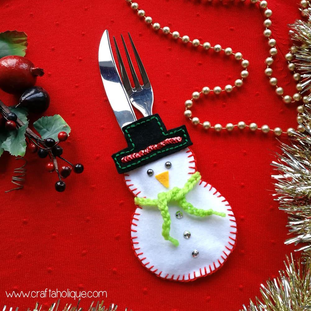 Snowman cutlery holder