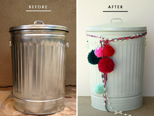 Spray painted trash can