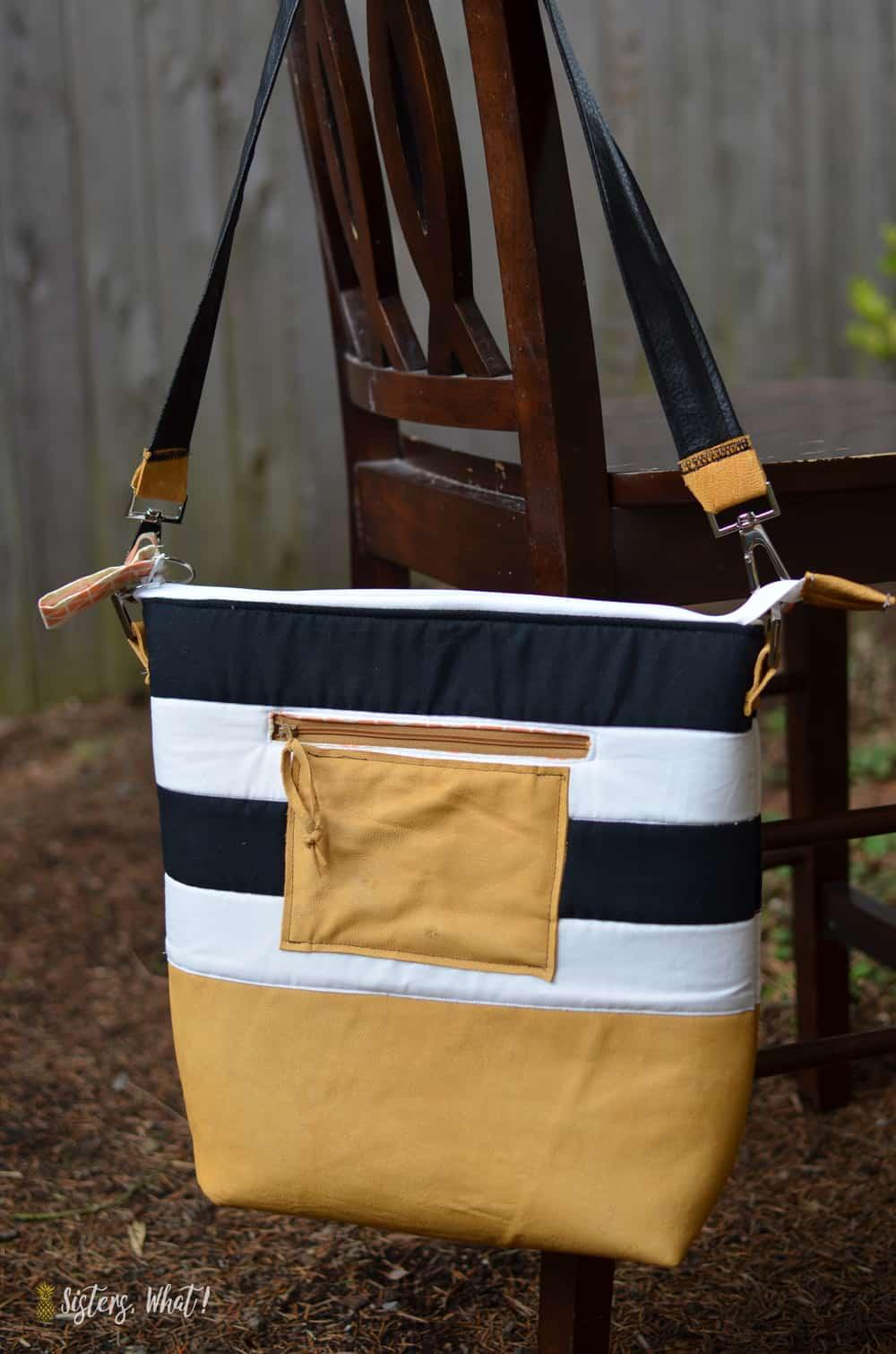 Striped cross-body bag