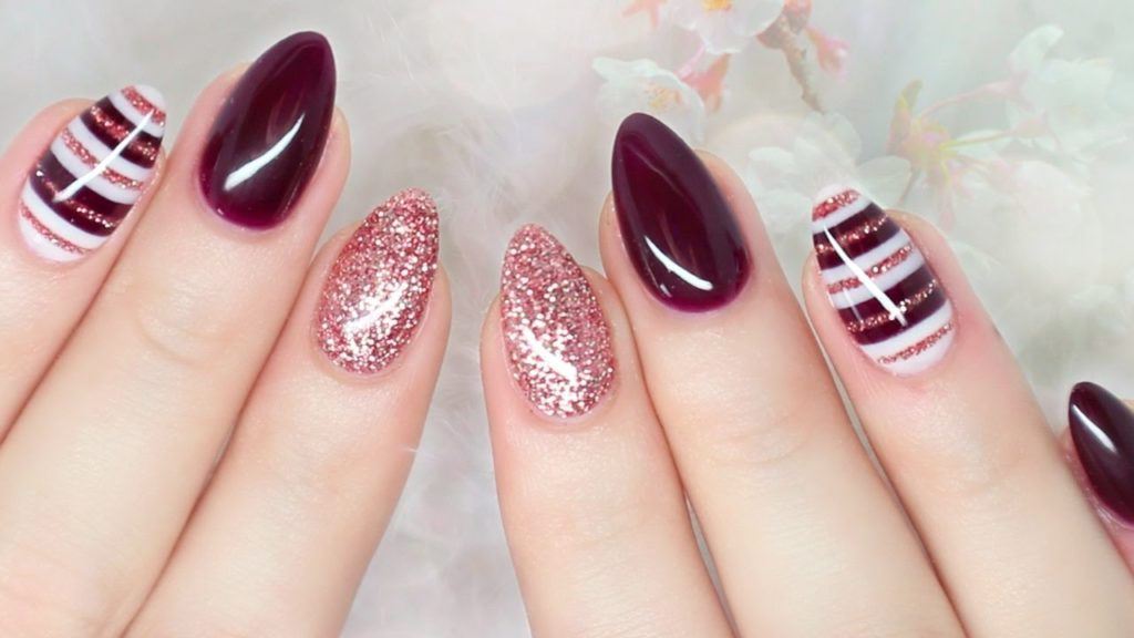 9 Burgundy Almond Nails