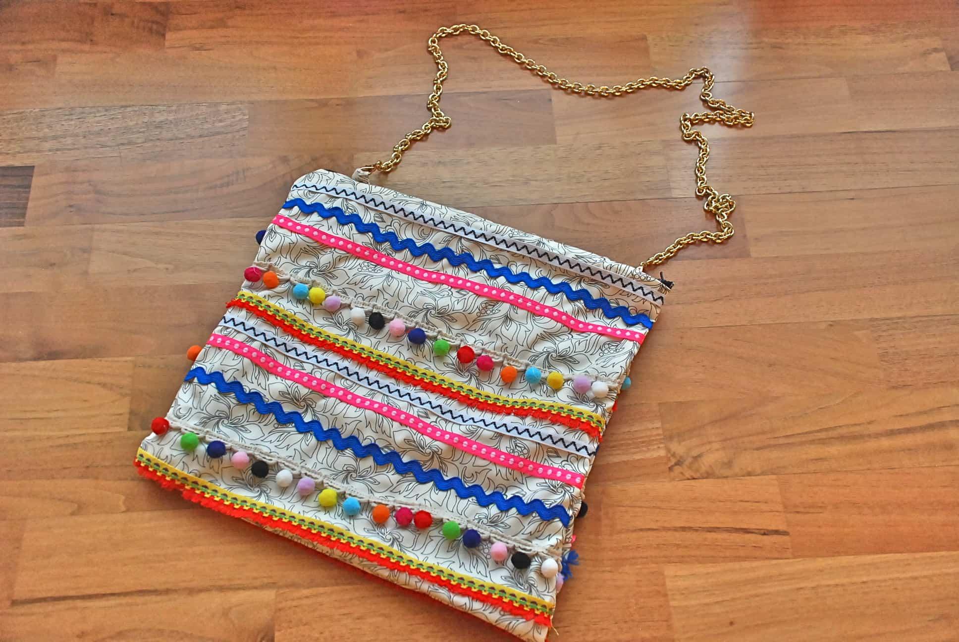 Colorful ribbons boho purse